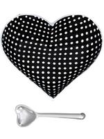Happy Heart Bowl w Spoon // Black w White Dots