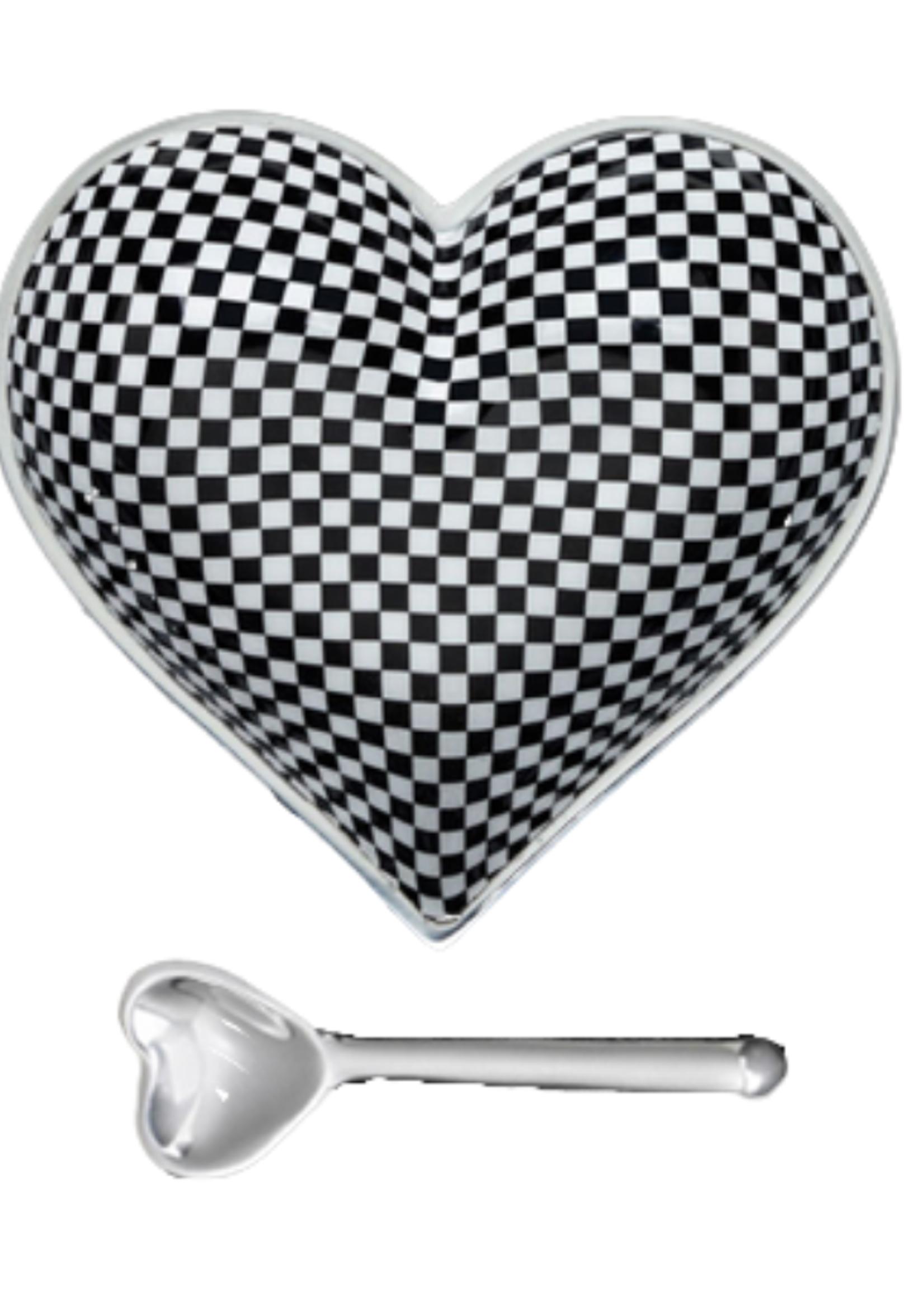 Happy Heart Bowl w Spoon // Checkerboard