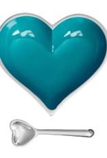 Happy Heart Bowl w Spoon // Aqua