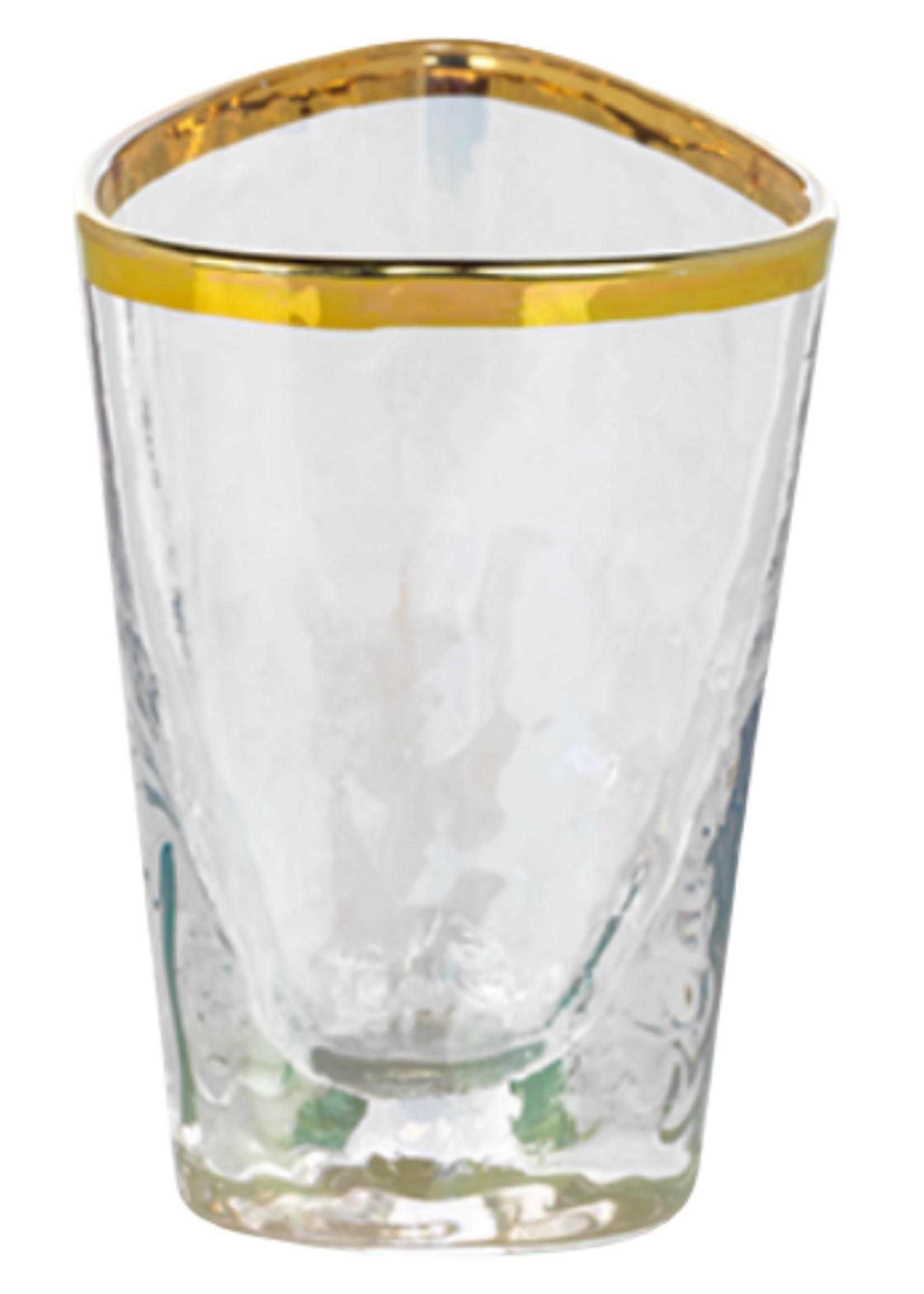 Aperitivo Triangular Shot Glass- Luster w/ Gold Rim