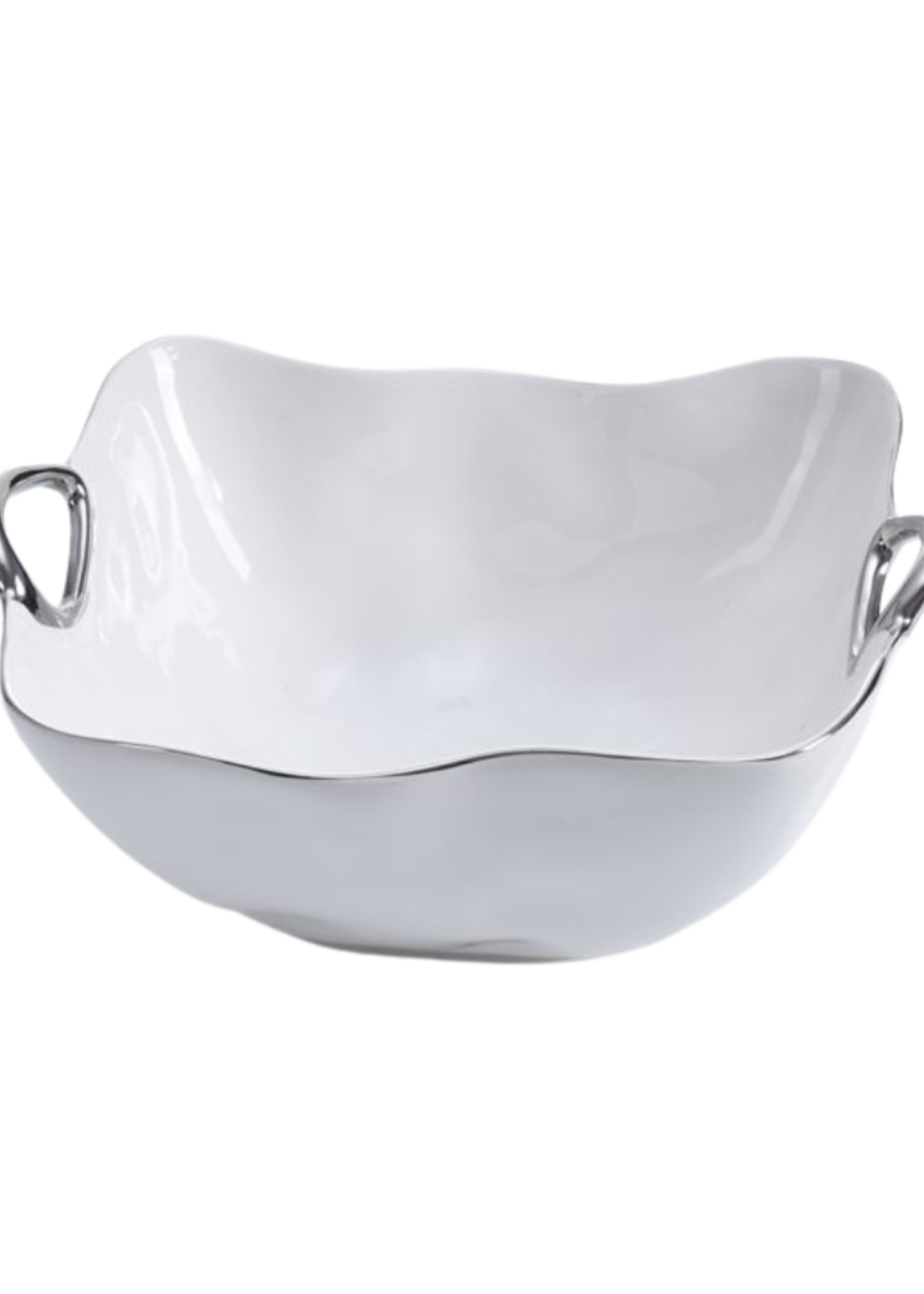 White Porcelain Large Bowl w/ Silver Handles