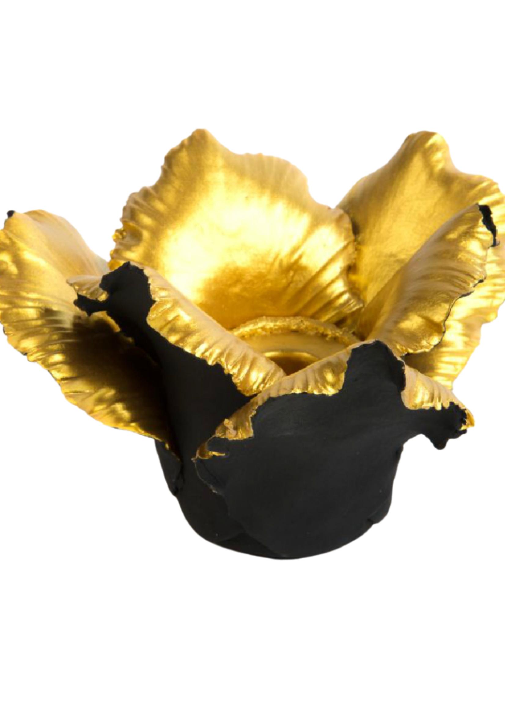 Daffodil Candle Holder // Black & Gold