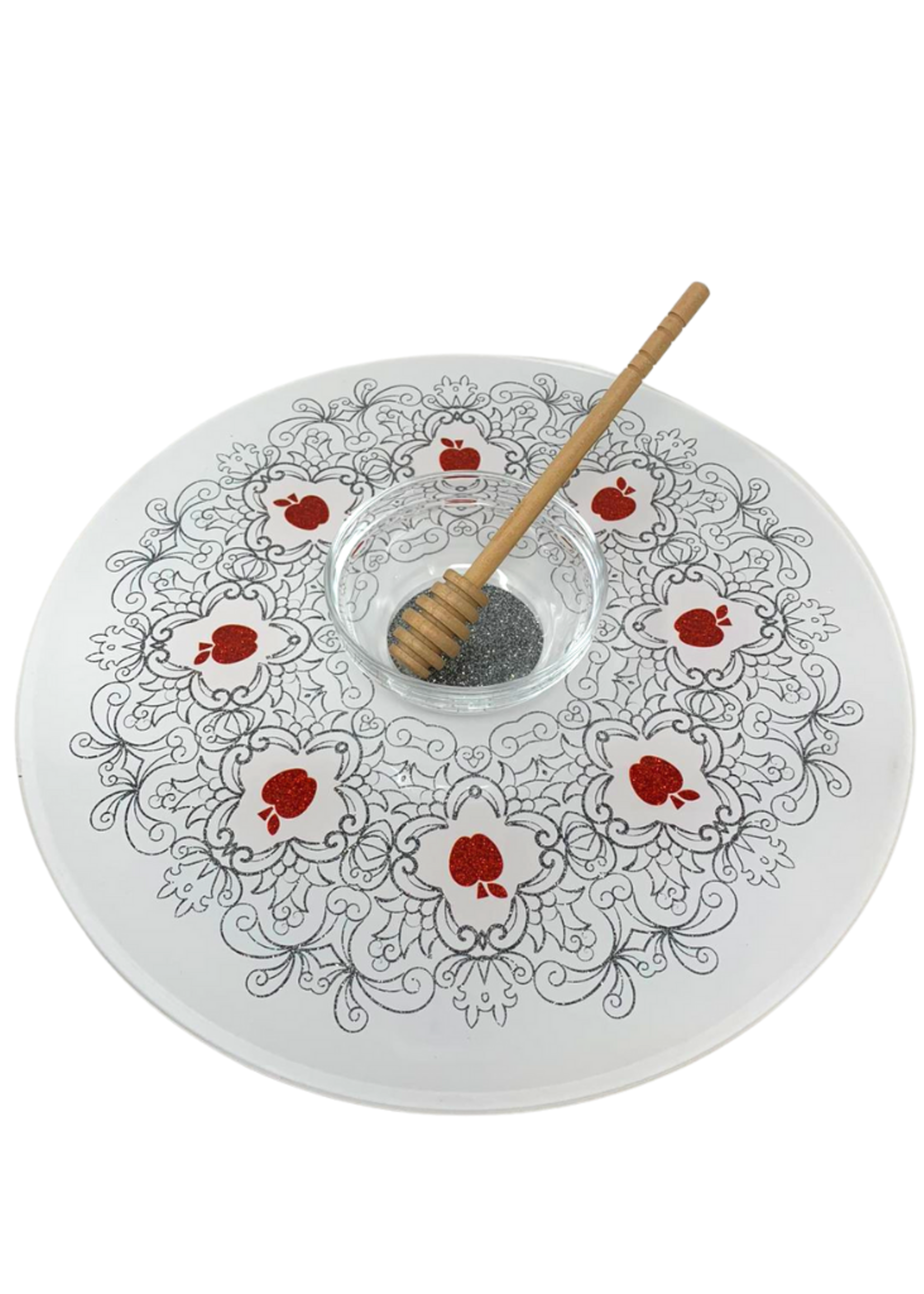 Acrylic Lazy Susan with Honey Cup & Dipper // Red Apple Design