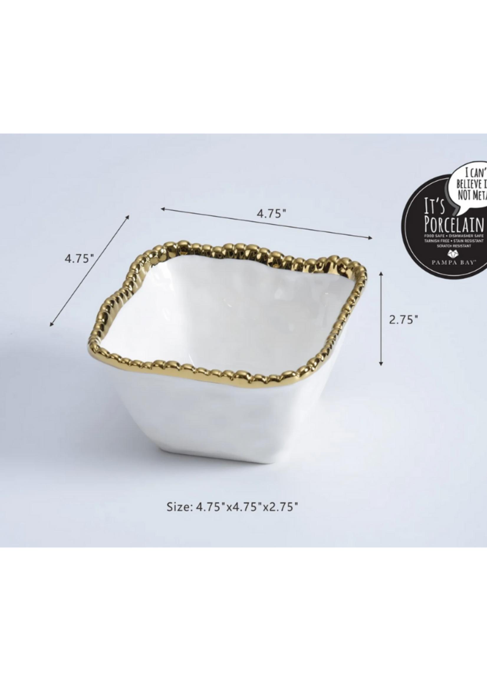 Square Snack Bowl // White & Gold