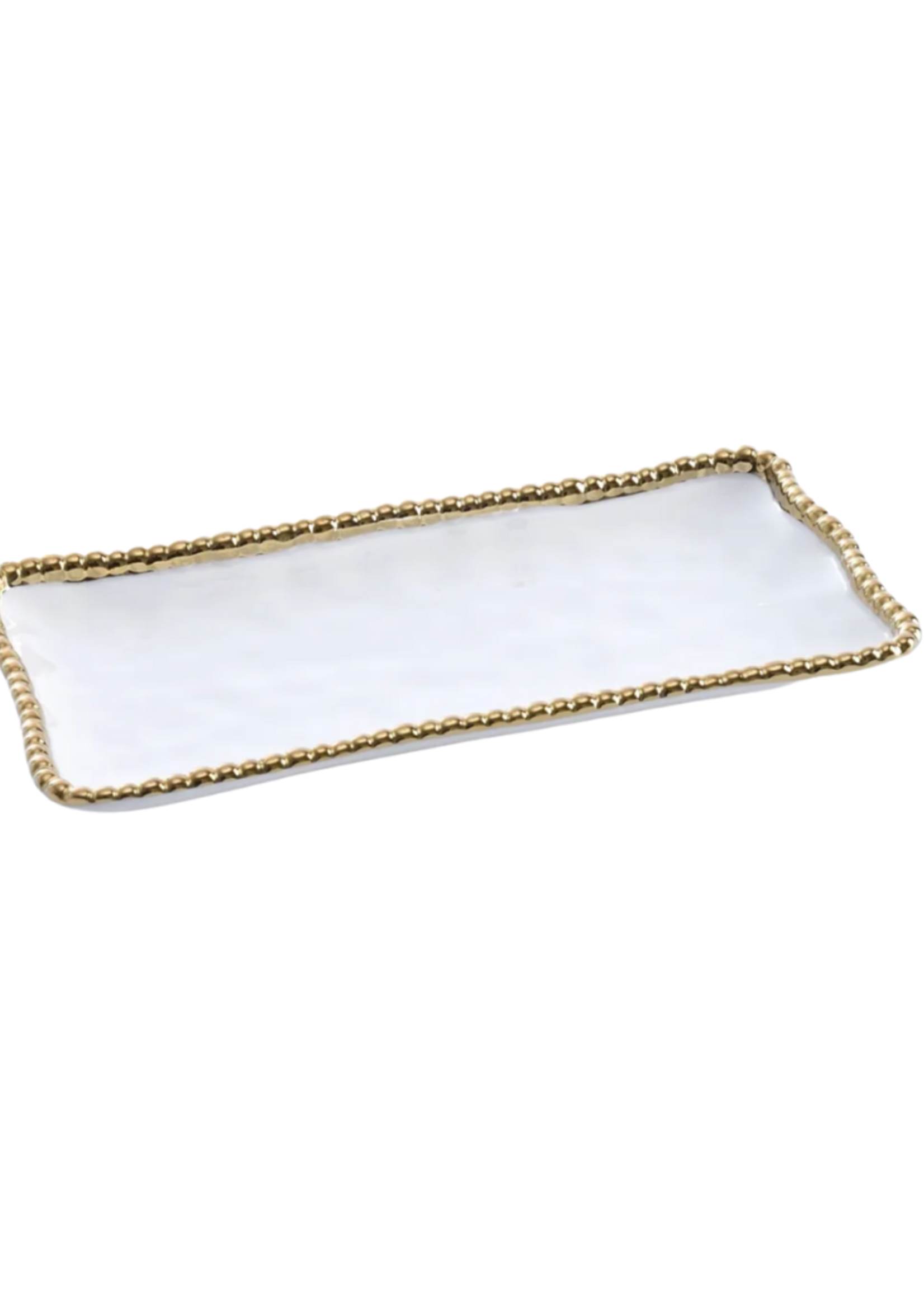 Small Rectangular Tray // White & Gold