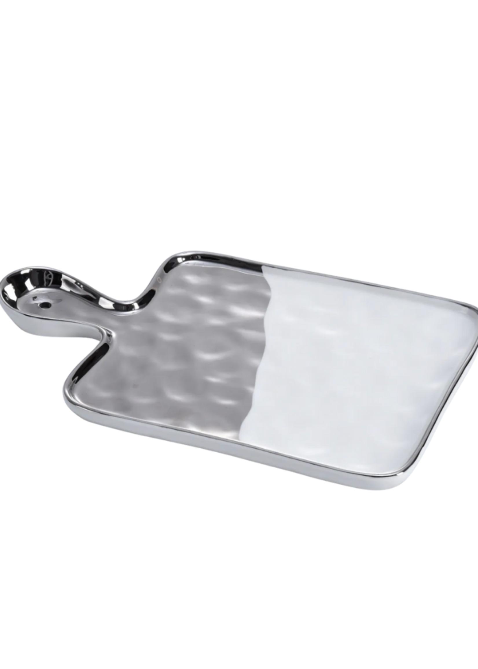 Medium Tray // White & Silver