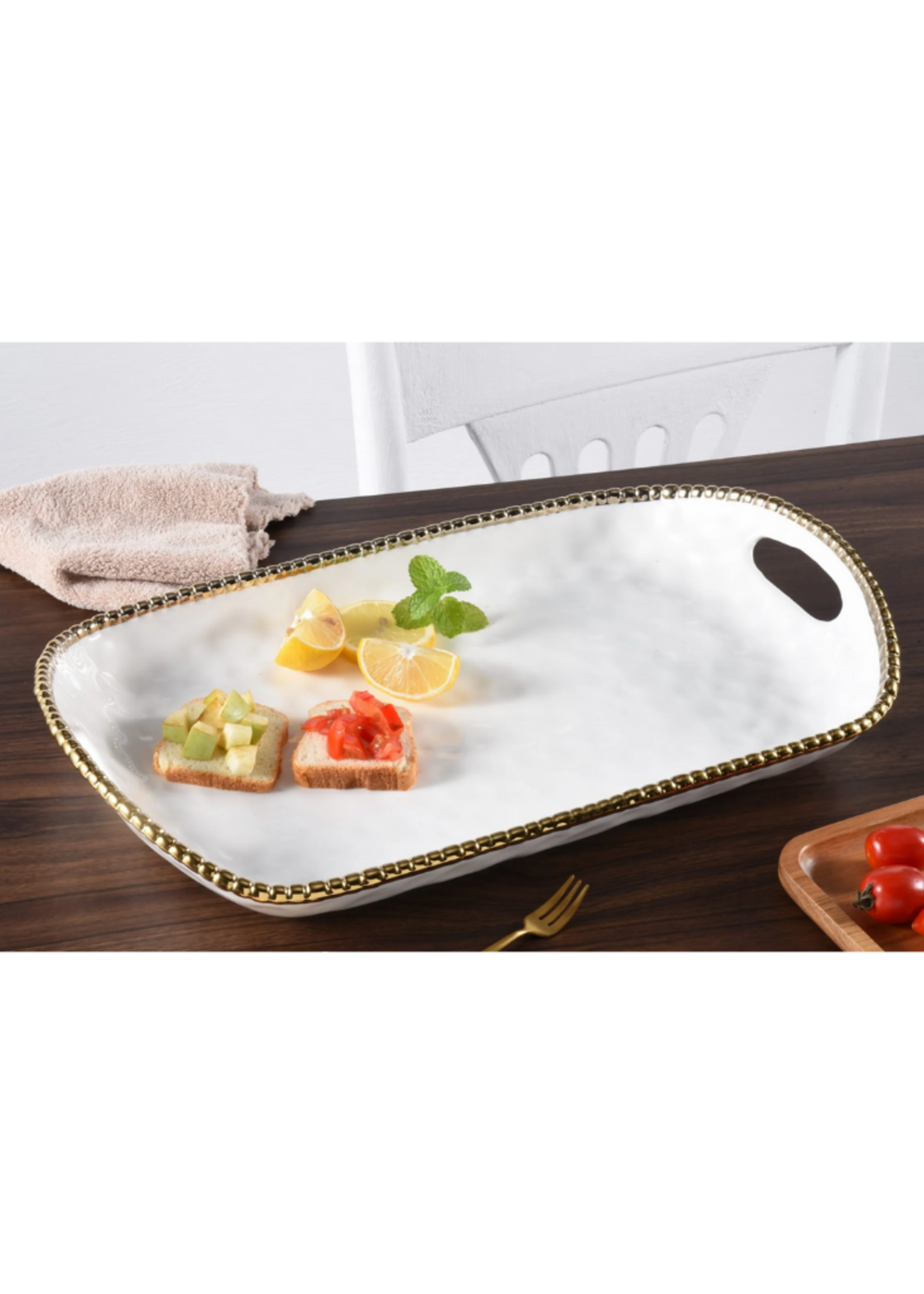 Rectangular Tray w Handles // White & Gold
