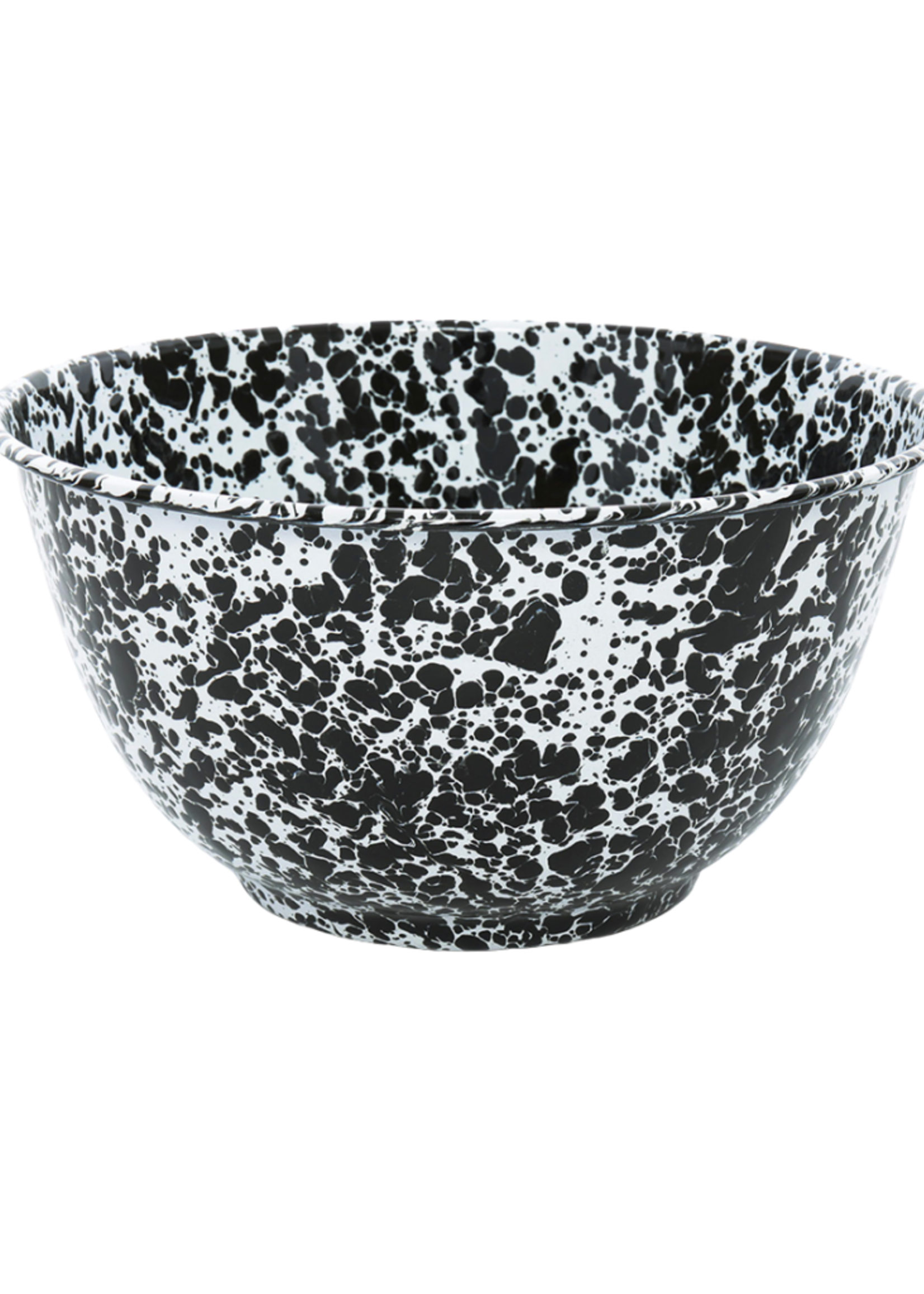 Splatter Large Salad Bowl // Black Marble