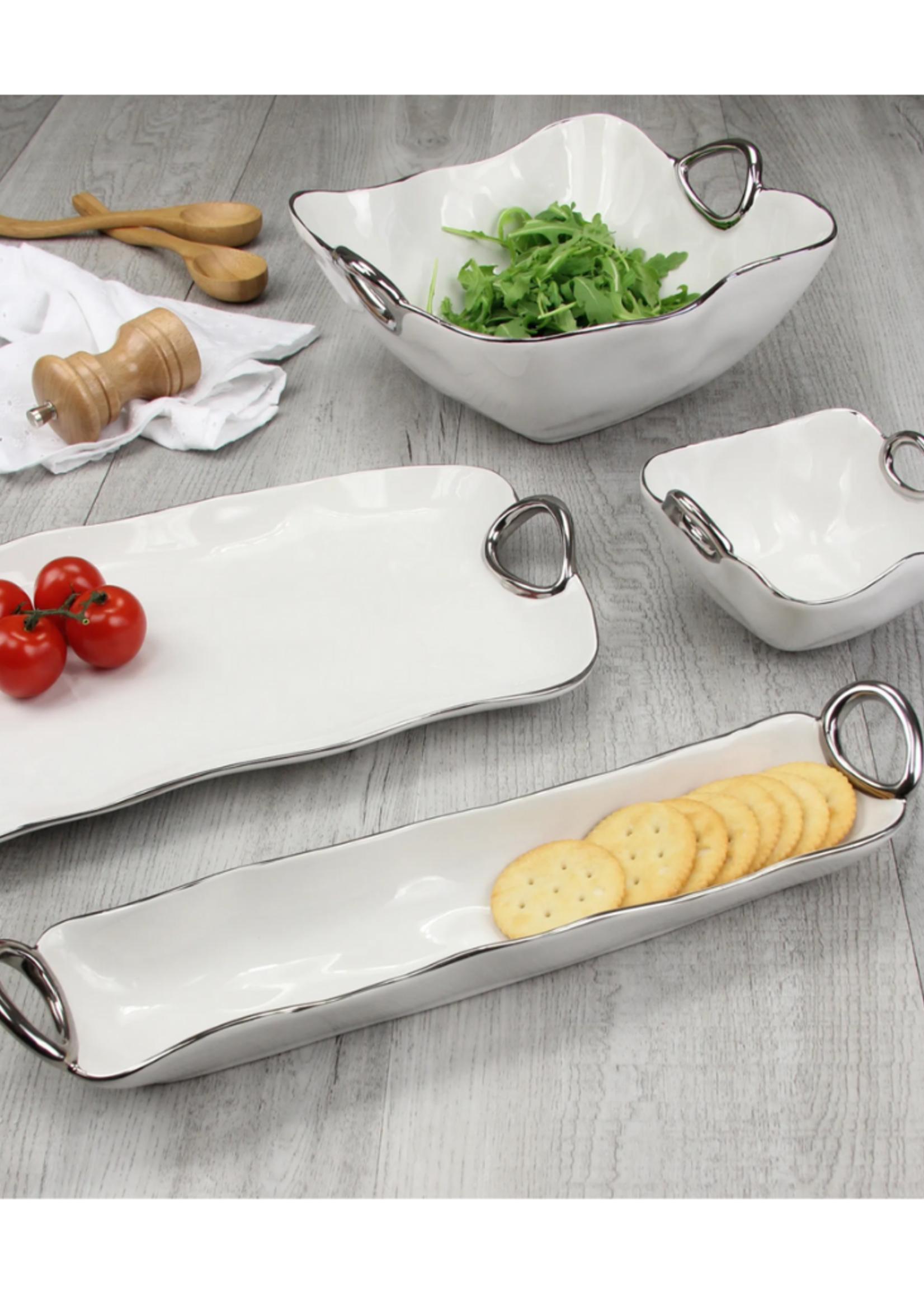 Large Platter // White & Silver