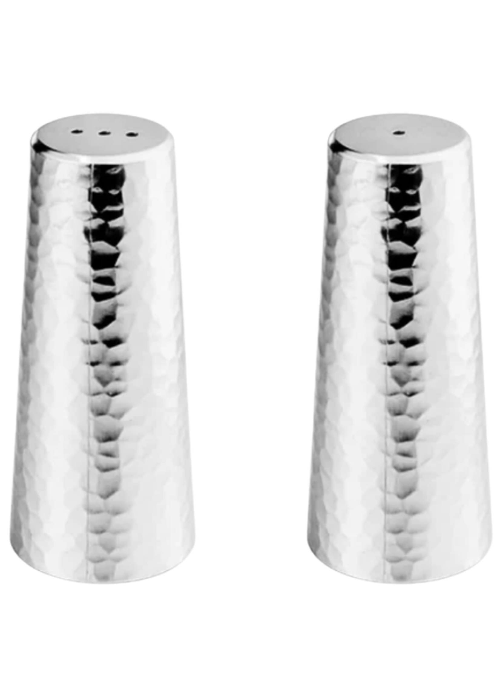 Silver Tone Hammered Salt & Pepper Shakers