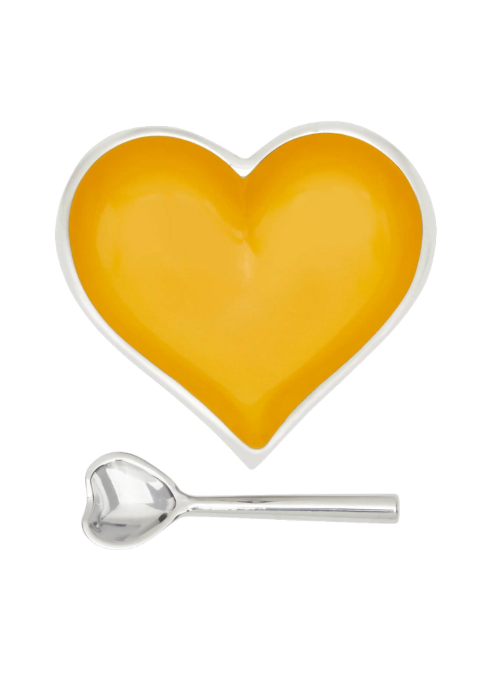 Happy Heart Bowl w Spoon // Goldenrod
