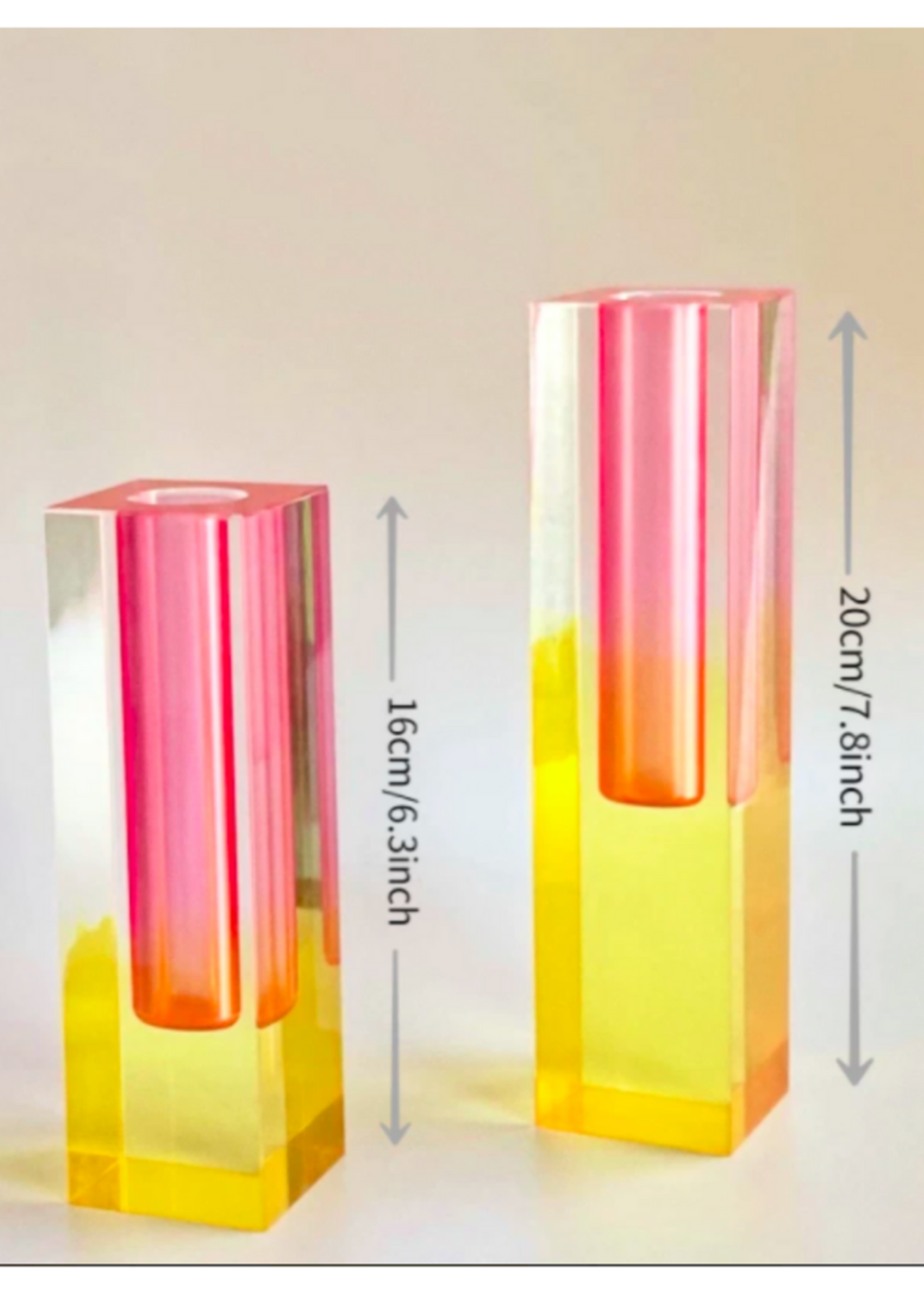 Acrylic Crystal Rainbow Bud Vase // Pink Tall