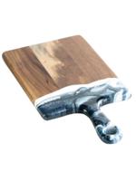 Small Acacia Resin Cheeseboard // Navy/ White/Metallic