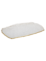 Crushed Glass Oblong Tray w Gold Rim