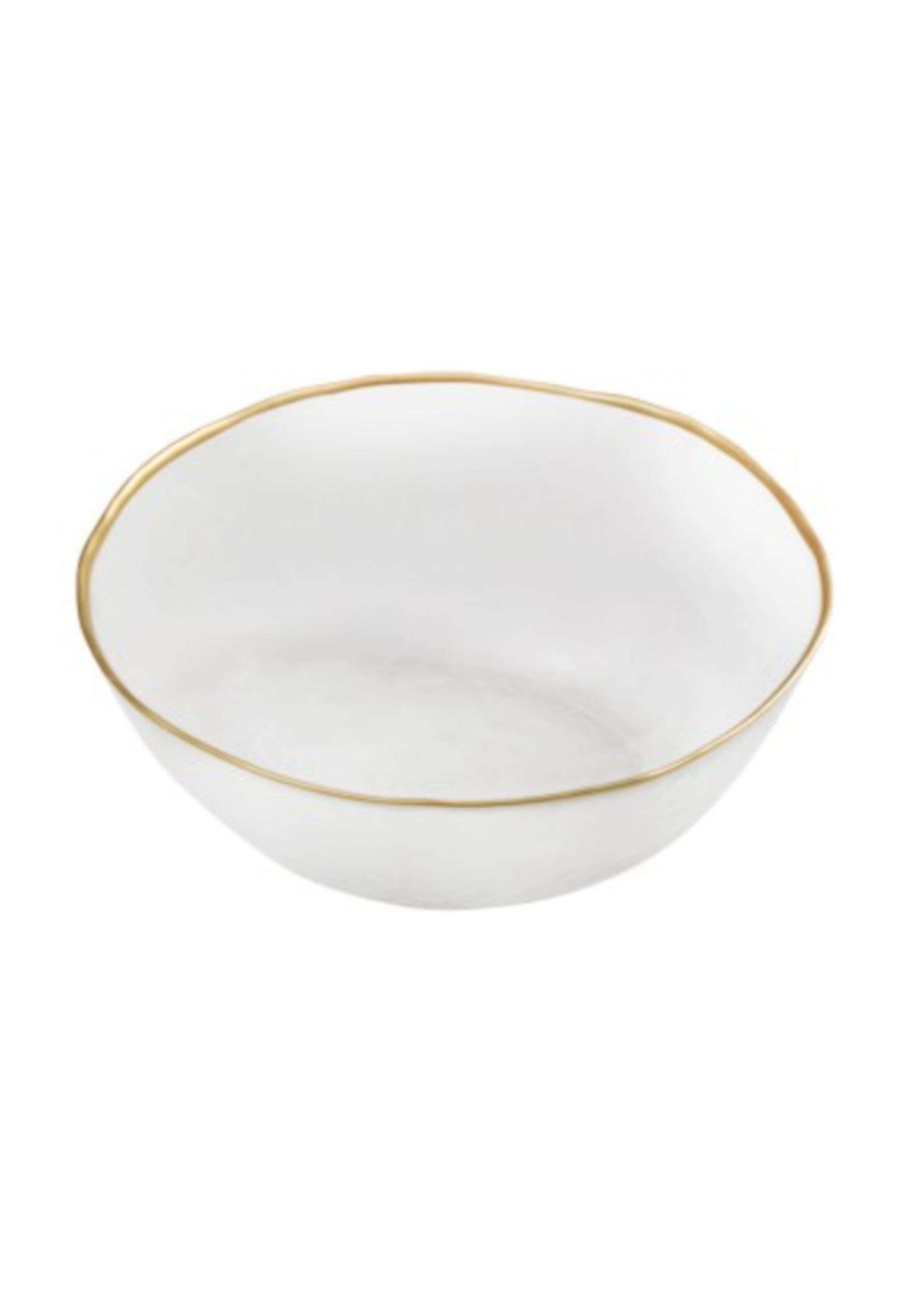 Clear Dessert Bowl w Gold Rim // Set of 4