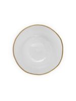 Clear Salad Plate w Gold Rim // Set of 4