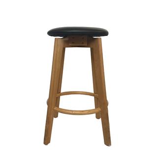 Dwell Sandown Barstool - Natural Frame with Black Upholstered Seat