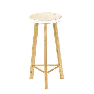 Beeline Furniture Design Calypso 3 Leg Barstool - Natural & White