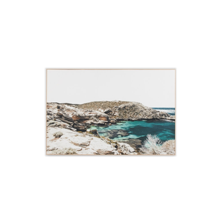Middle of Nowhere Azure Bay - Framed Canvas