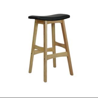 Dwell Danish Stool - Natural Base / Black Upholstered Seat
