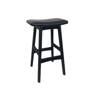 Dwell Danish Barstool - Black Frame / Black Upholstered Seat