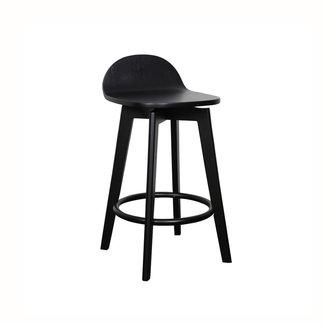 Dwell Caulfield Barstool - Black Base / Black Veneer Seat
