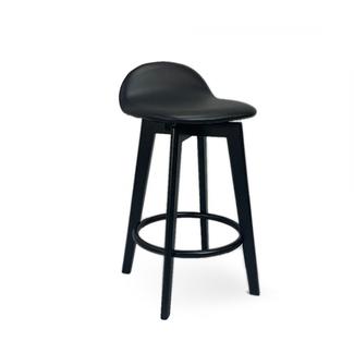 Dwell Caulfield Barstool - Black Base with Black Upholstered Seat