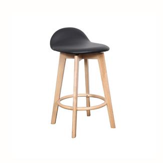 Dwell Caulfield Barstool - Natural base / Black Upholstered Seat