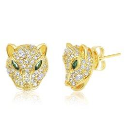 Melinda Maria Baby Jaguar Stud Earring GLD/EM