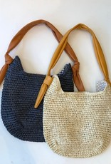 DT Raffia Tote Bag With Faux Leather Strap