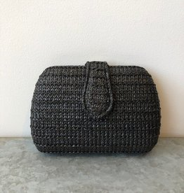 DT Raffia Black Snap Clutch