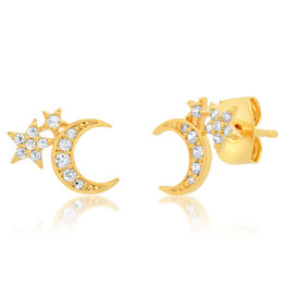 Tai Jewelry Two Star Moon Stud