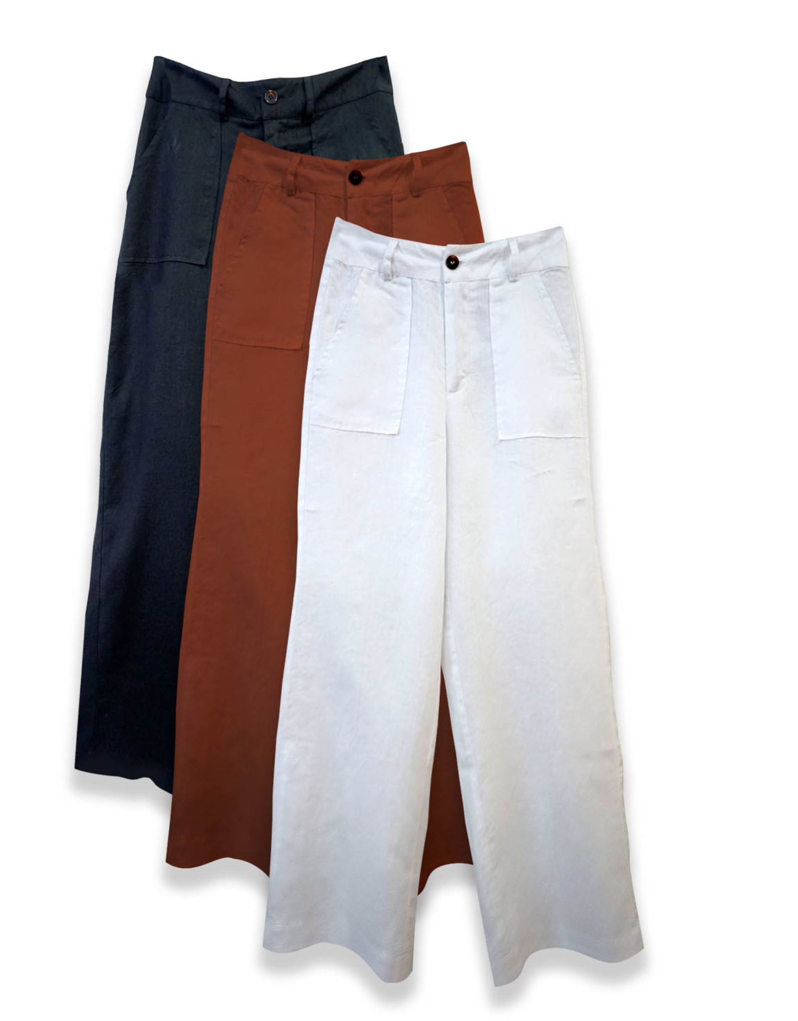 4 our Dreamers 4 our Dreamers Wide Leg Linen Pant White