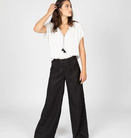 4 our Dreamers 4 our Dreamers Wide Leg Linen Pant Black
