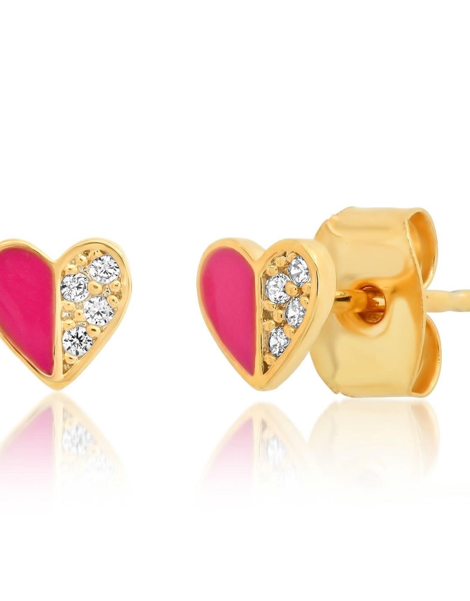 Tai Jewelry Tai Heart Enamel with CZ Earring Style TE-2846PINK