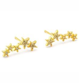 Tai Jewelry Tai 5 Star Stud Crawler Earring Style CZE1-5Star