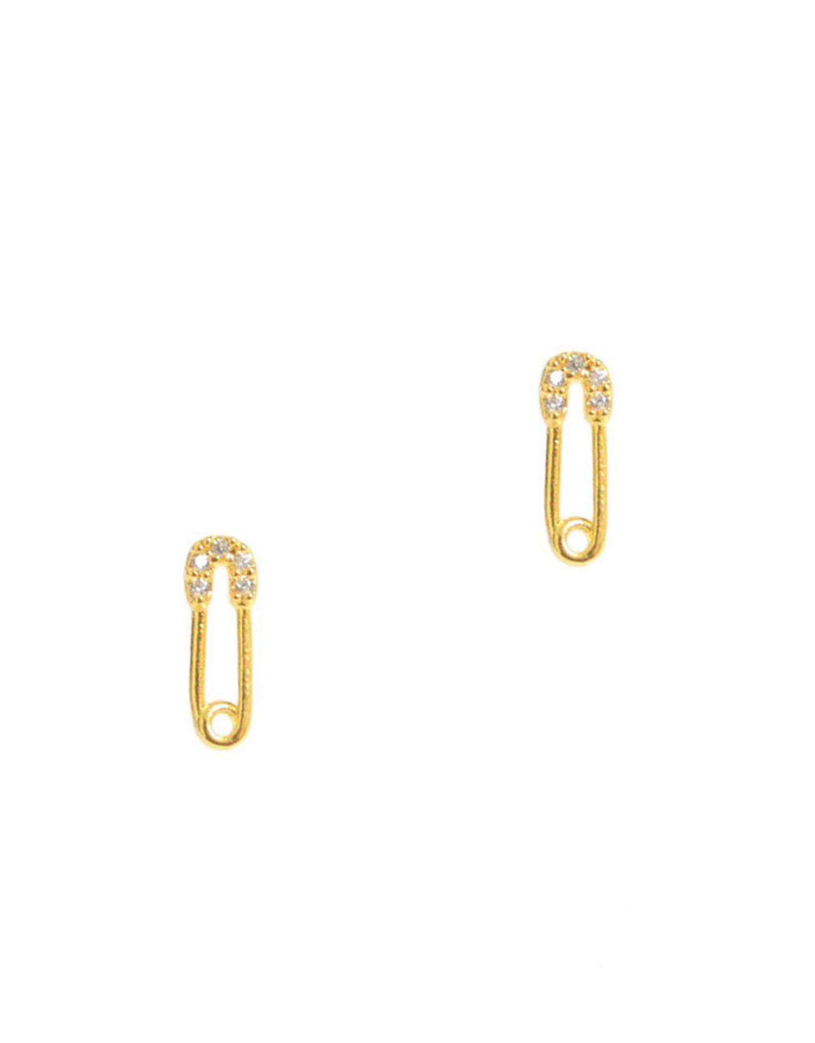 Tai Jewelry Tai Mini Safety Pin Stud Earring Style Style CZE3-Pin
