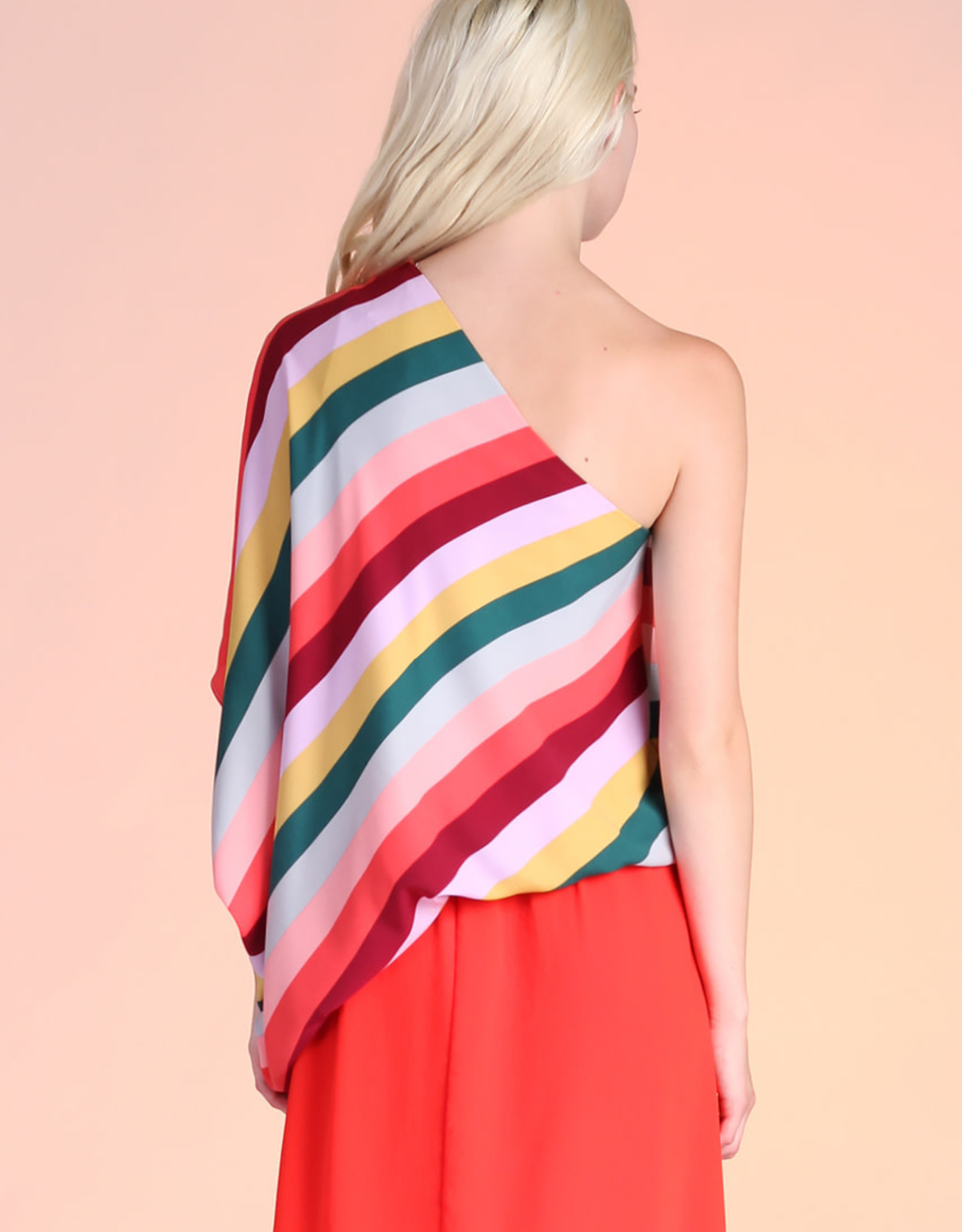 Tyche Tyche Rainbow One Shoulder Top