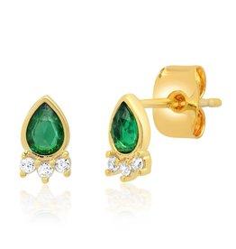 Tai Jewelry Tai Teardrop Emerald Stud Earring  TE-3057