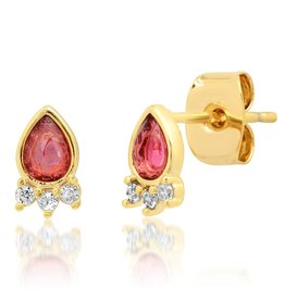 Tai Jewelry Tai Teardrop Pink Stud Earring  TE-3057
