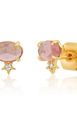 Tai Jewelry Tai Oval Stud w/Tiny Star TE-3063 Rose