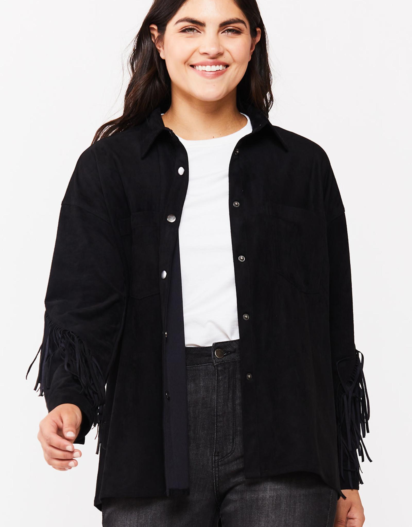 Velvet Heart Velvet Heart Aldona Faux Suede Fringe Shirt Black