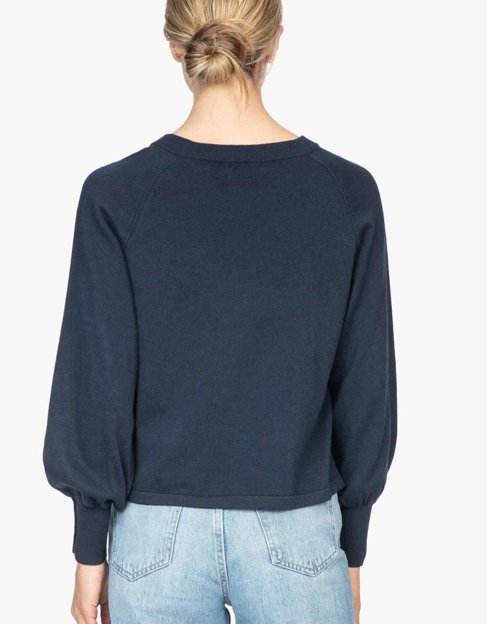 Lilla P Lilla P Button Sleeve Raglan Sweater Navy