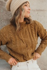 Lovestitch Lovestitch Ribbed Mock Sweater Tobacco