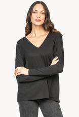Lilla P LillaP Double V-Neck Tee Black