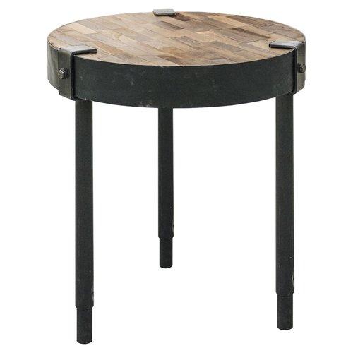 Table d'appoint ronde en métal noir et bois de teck
