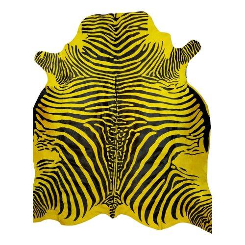 Tapis en peau de vache jaune style zèbre