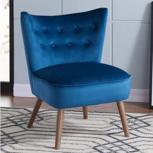 Chaise d'appoint bleue en velours luxueux Elle Blush