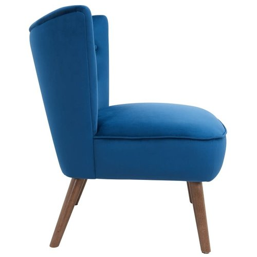 Chaise d'appoint bleue en velours luxueux Elle Blush