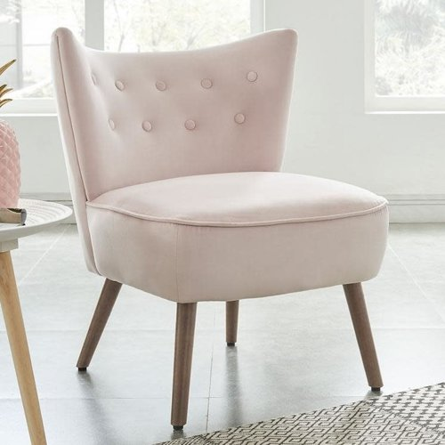 Chaise d'appoint rose pâle en velours luxueux Elle Blush